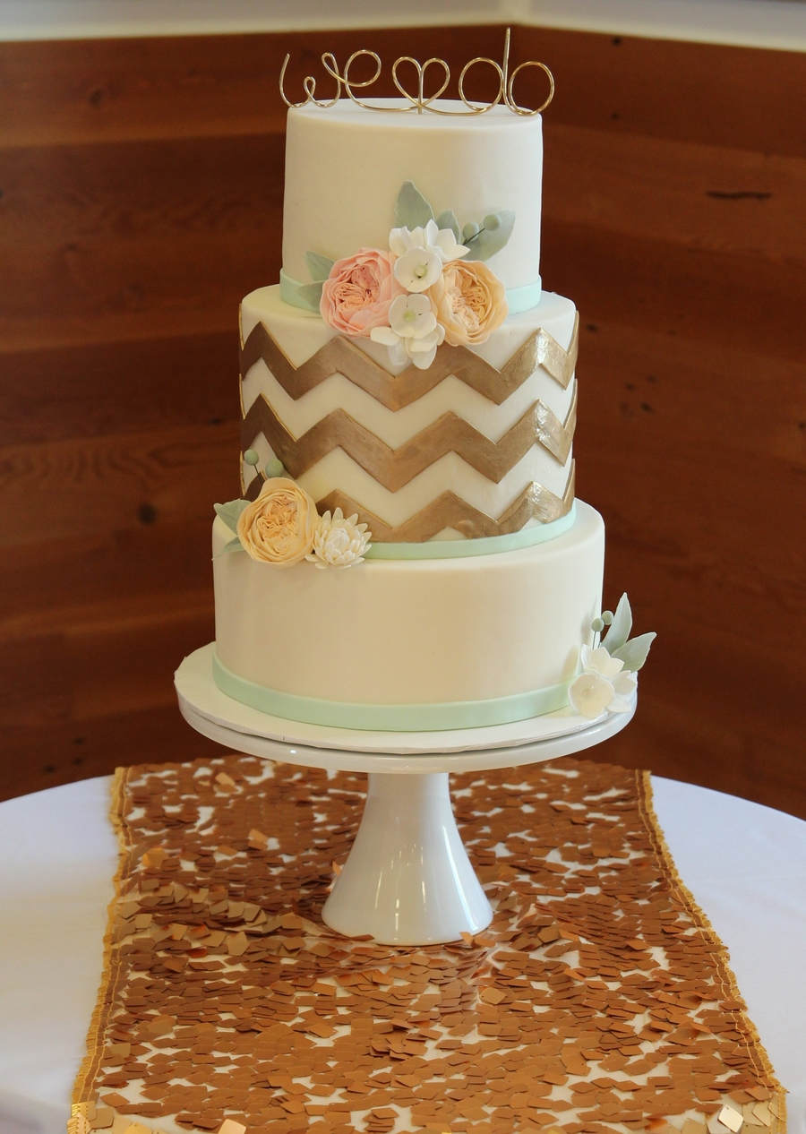 Gold And Mint Chevron Cake Cakecentral Com