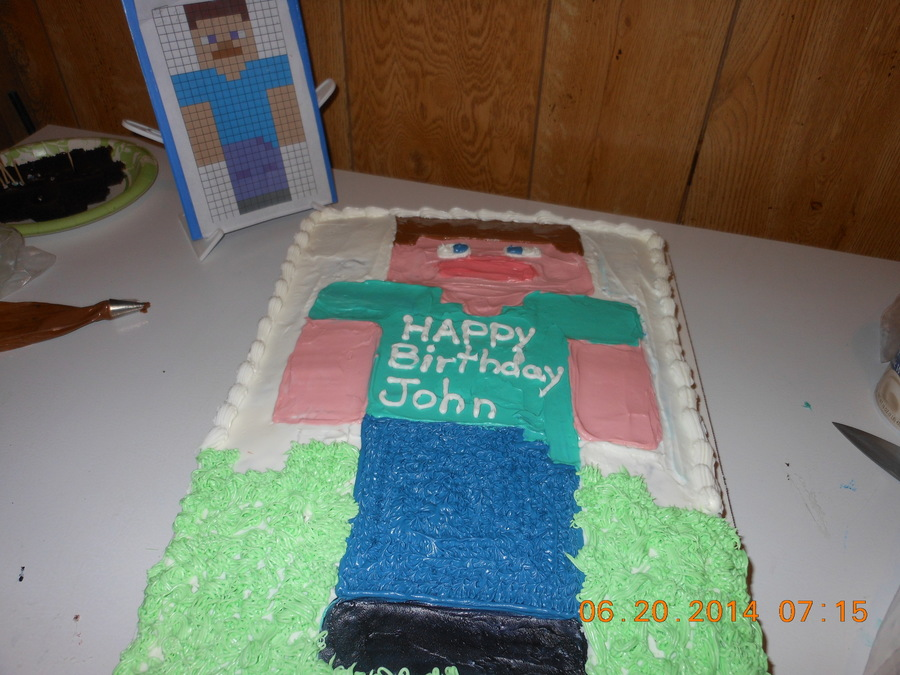Stupendous Supposed To Resemble Steve From Minecraft 1St Cake I Have Done Funny Birthday Cards Online Eattedamsfinfo