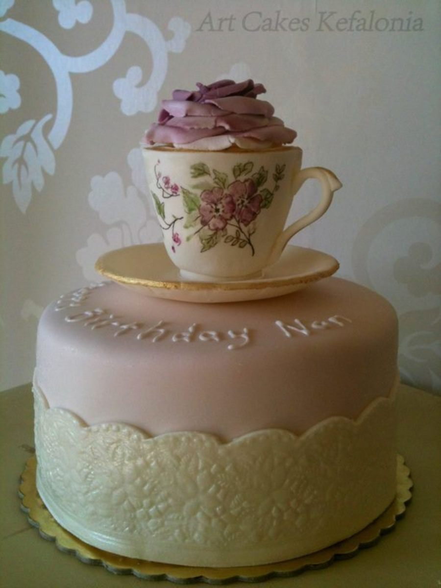 Hand Madepainted Sugar Paste Cup And Saucer An All Edible Chocolate ...