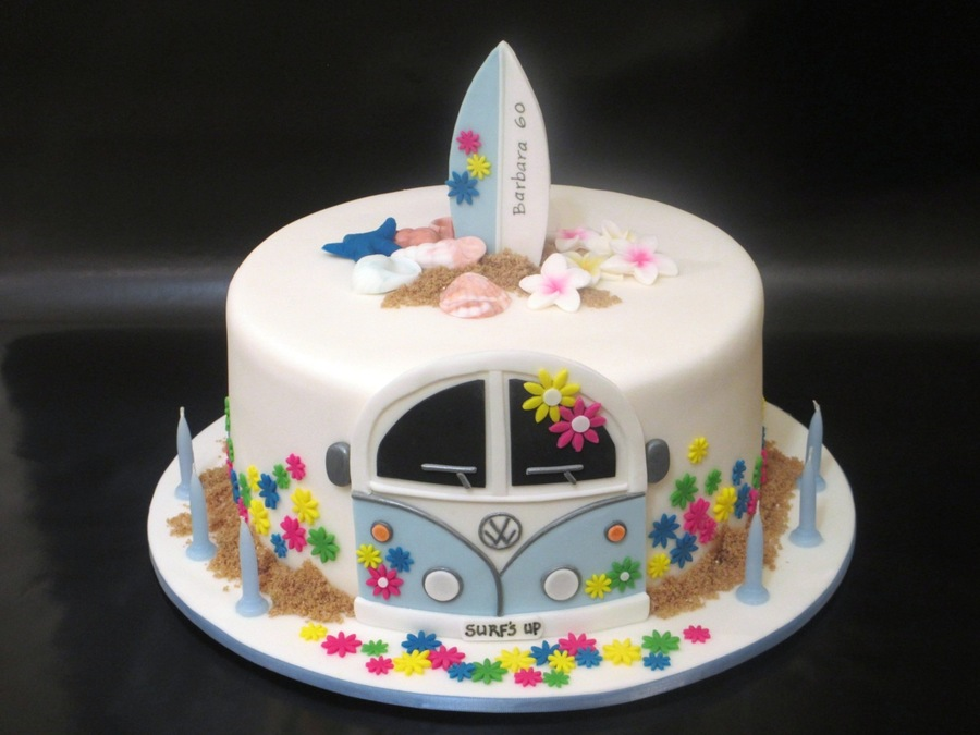 Pleasing 60Th Birthday Cake For A Former Hippy She Still Surfs Every Day Funny Birthday Cards Online Unhofree Goldxyz