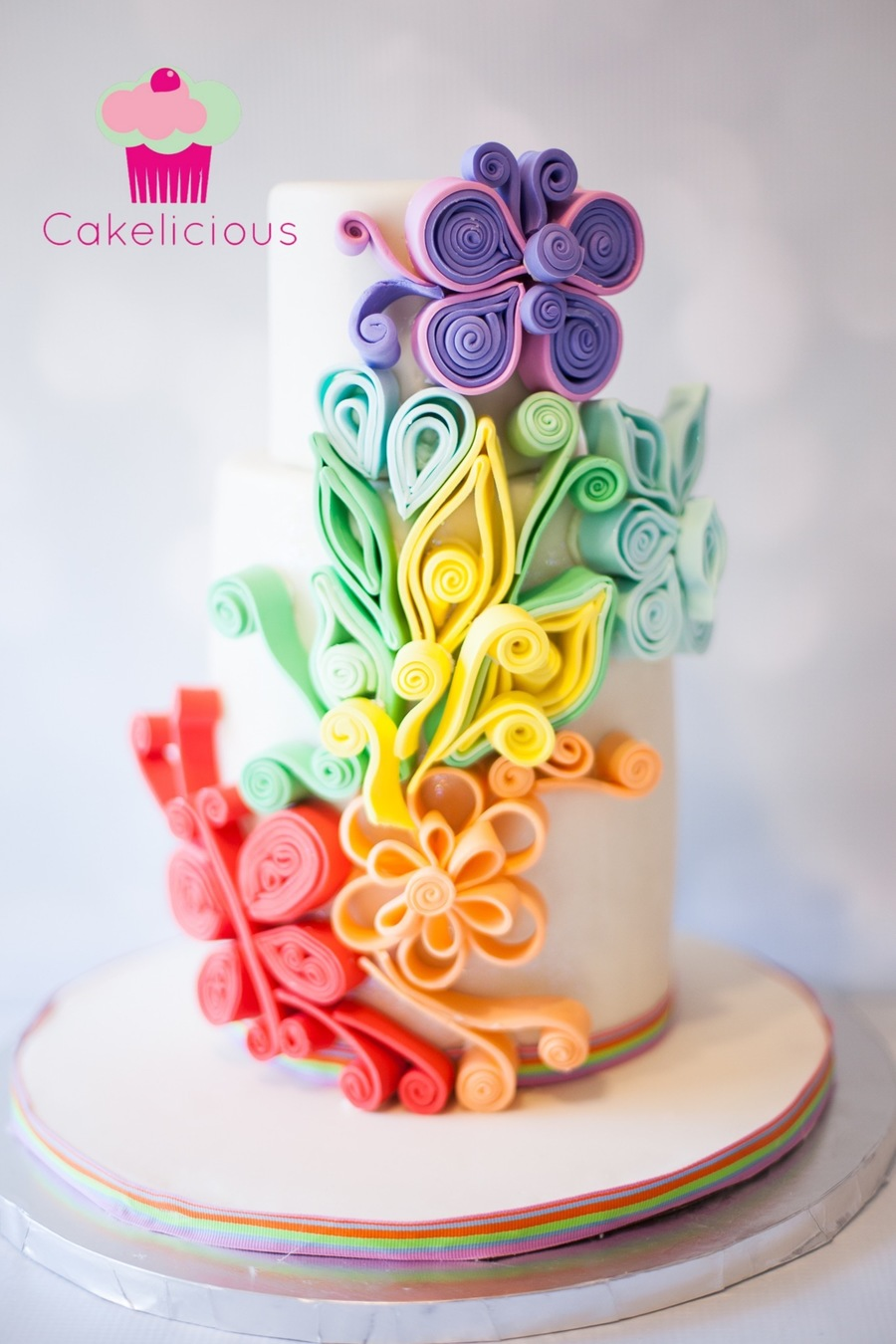 Rainbow Sugar Quilled Cake Cakecentral Com