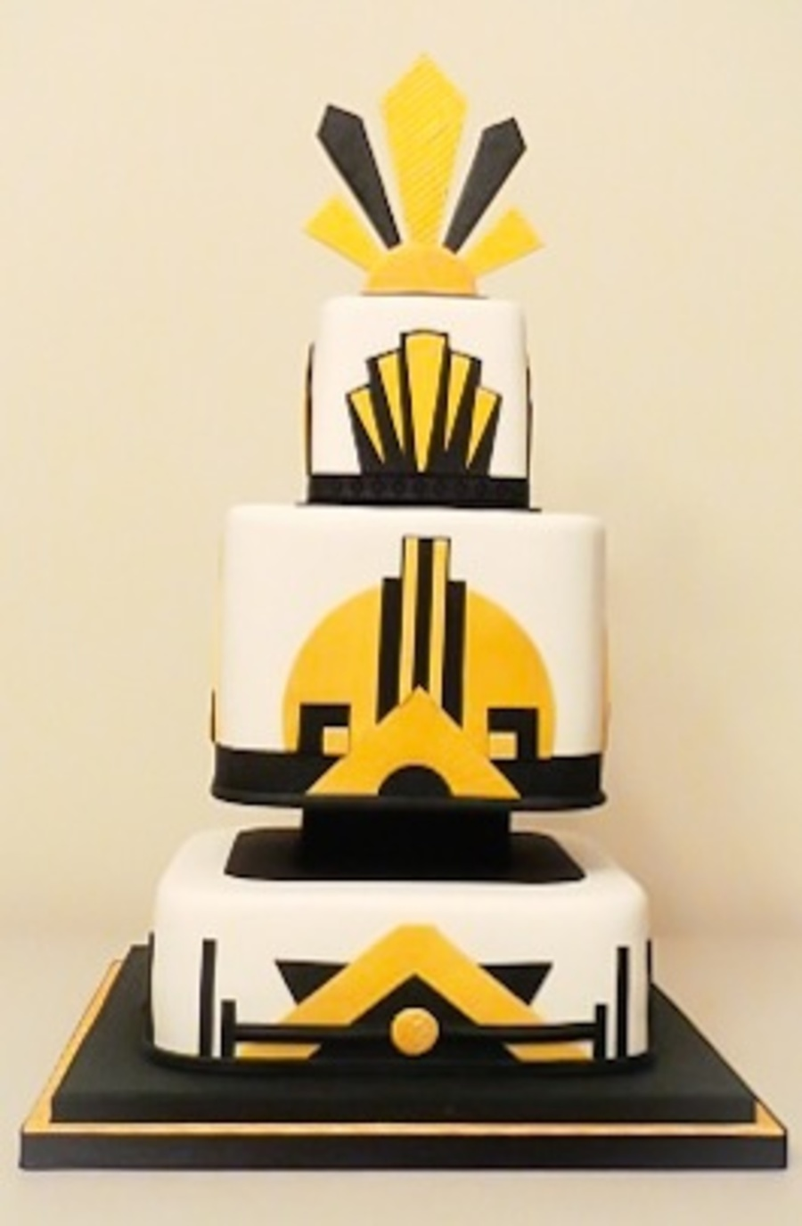 Art Deco Style Square Wedding Cake Rounded Edges - CakeCentral.com