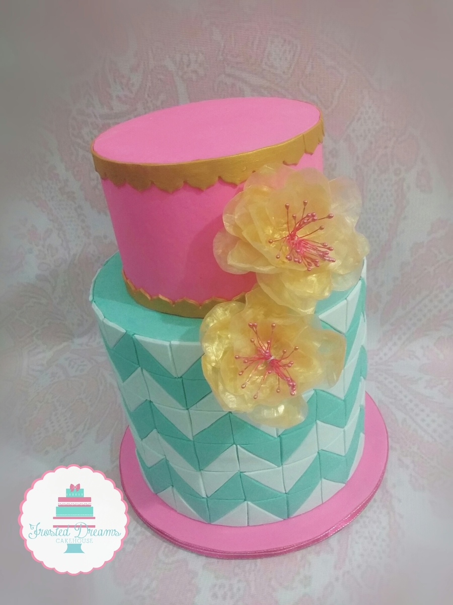Pink And Teal Cake W Chevron Pattern And Edible Rice Paper Flower
