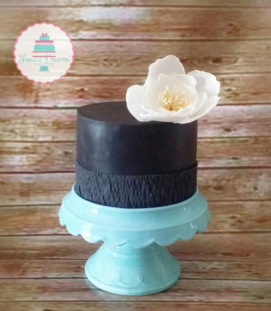 Simple Black Cake W Textured Border Adorned W Edible Wafer Paper