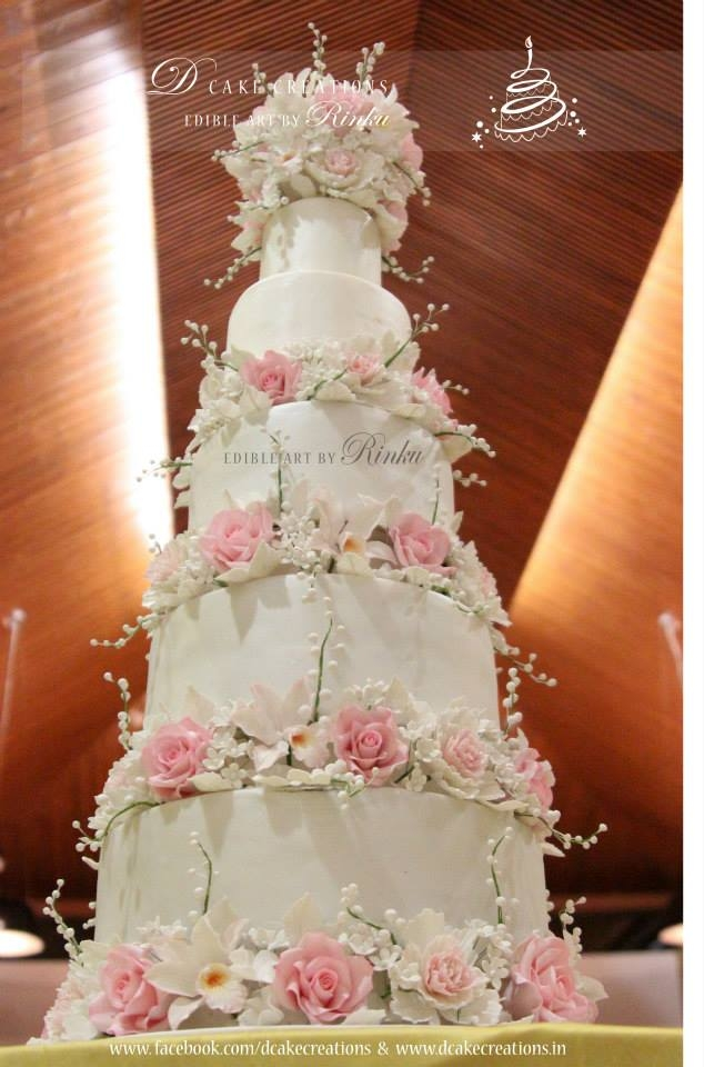 5 Tier Floral Wedding Cake Cakecentral Com