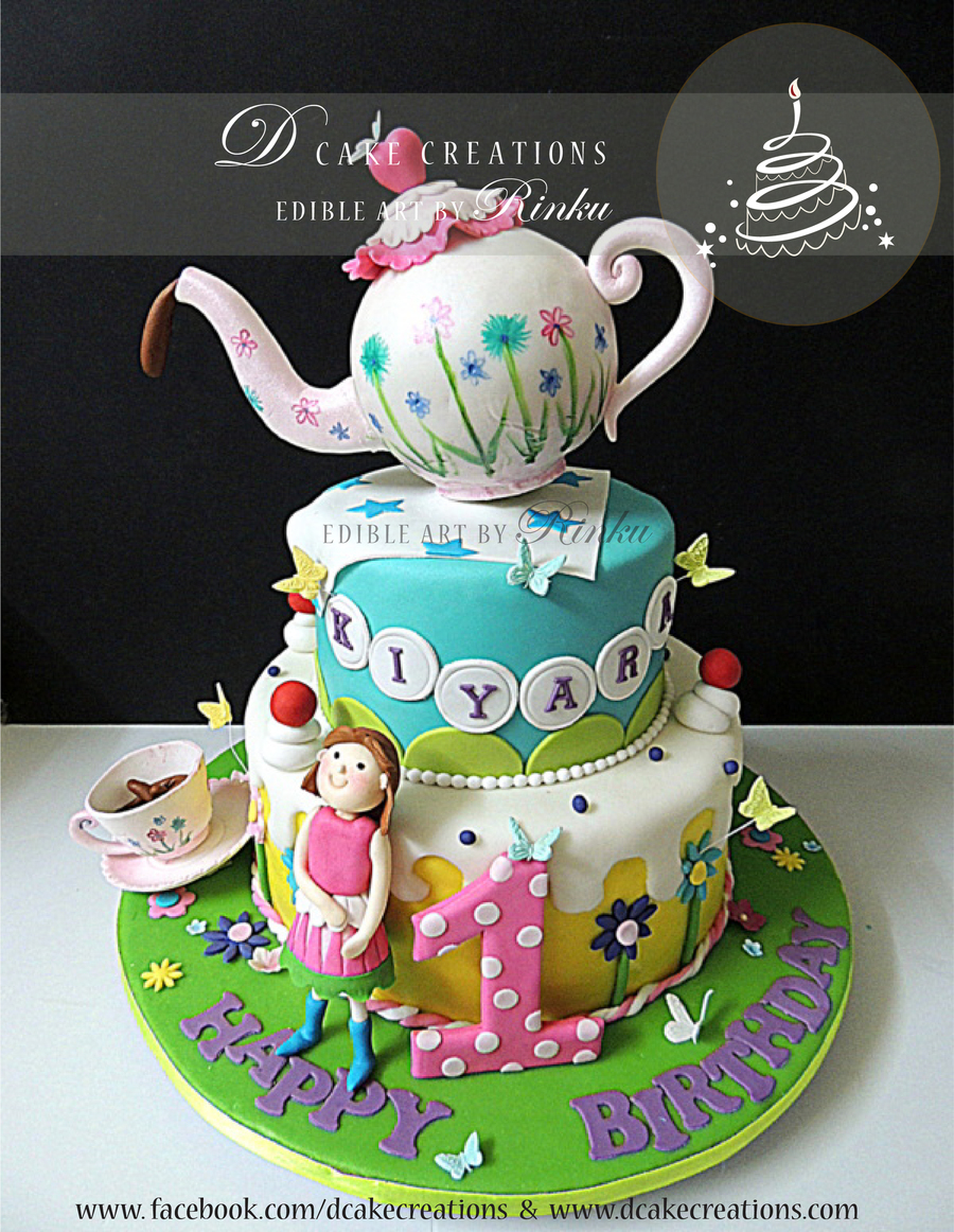 Terrific Whimsical Teapot Birthday Cake Cakecentral Com Personalised Birthday Cards Cominlily Jamesorg