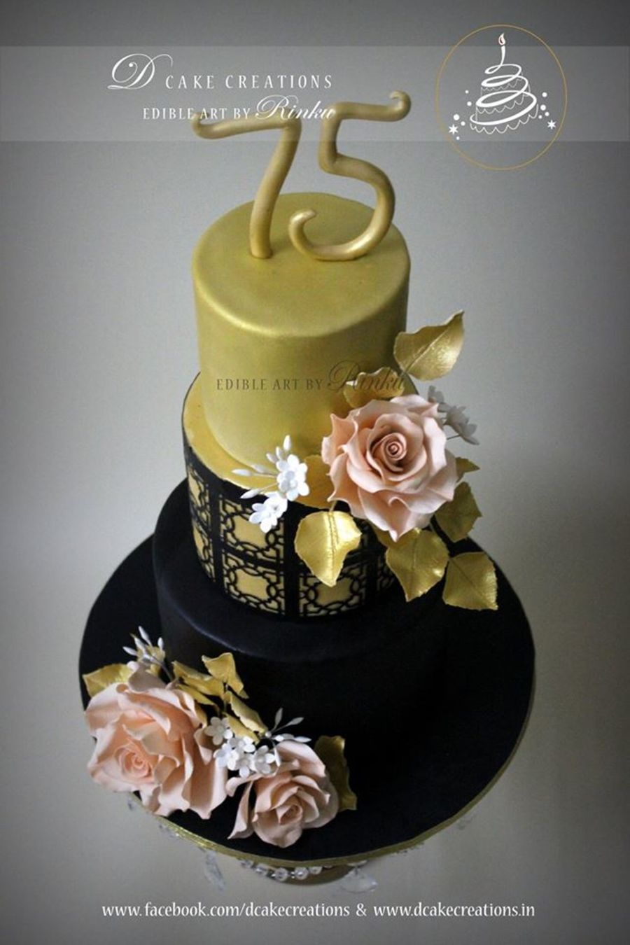 Birthday Cake Images Gold : Black & Gold Birthday Cake - CakeCentral.com