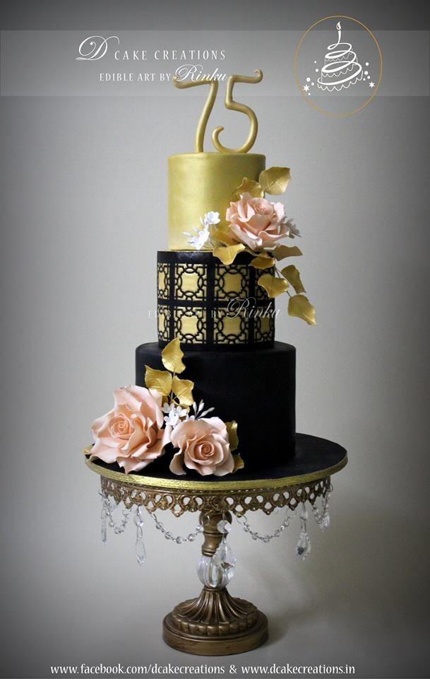 Black Gold Birthday Cake Cakecentral Com