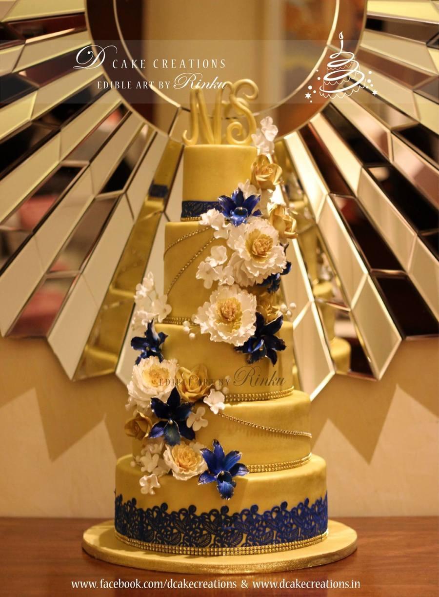 5 Tier Floral Golden Cake Cakecentral Com