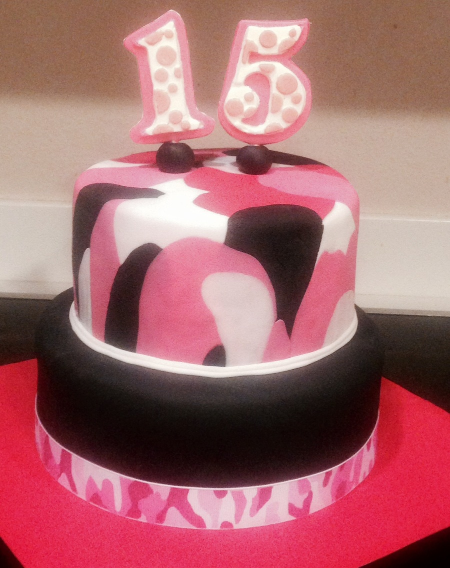 Tremendous Pink Camo Cake Cakecentral Com Personalised Birthday Cards Paralily Jamesorg