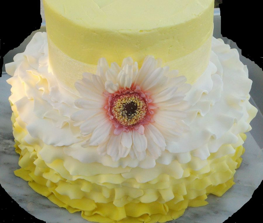 Yellow Buttercream Wedding Cake With Fondant Ruffles