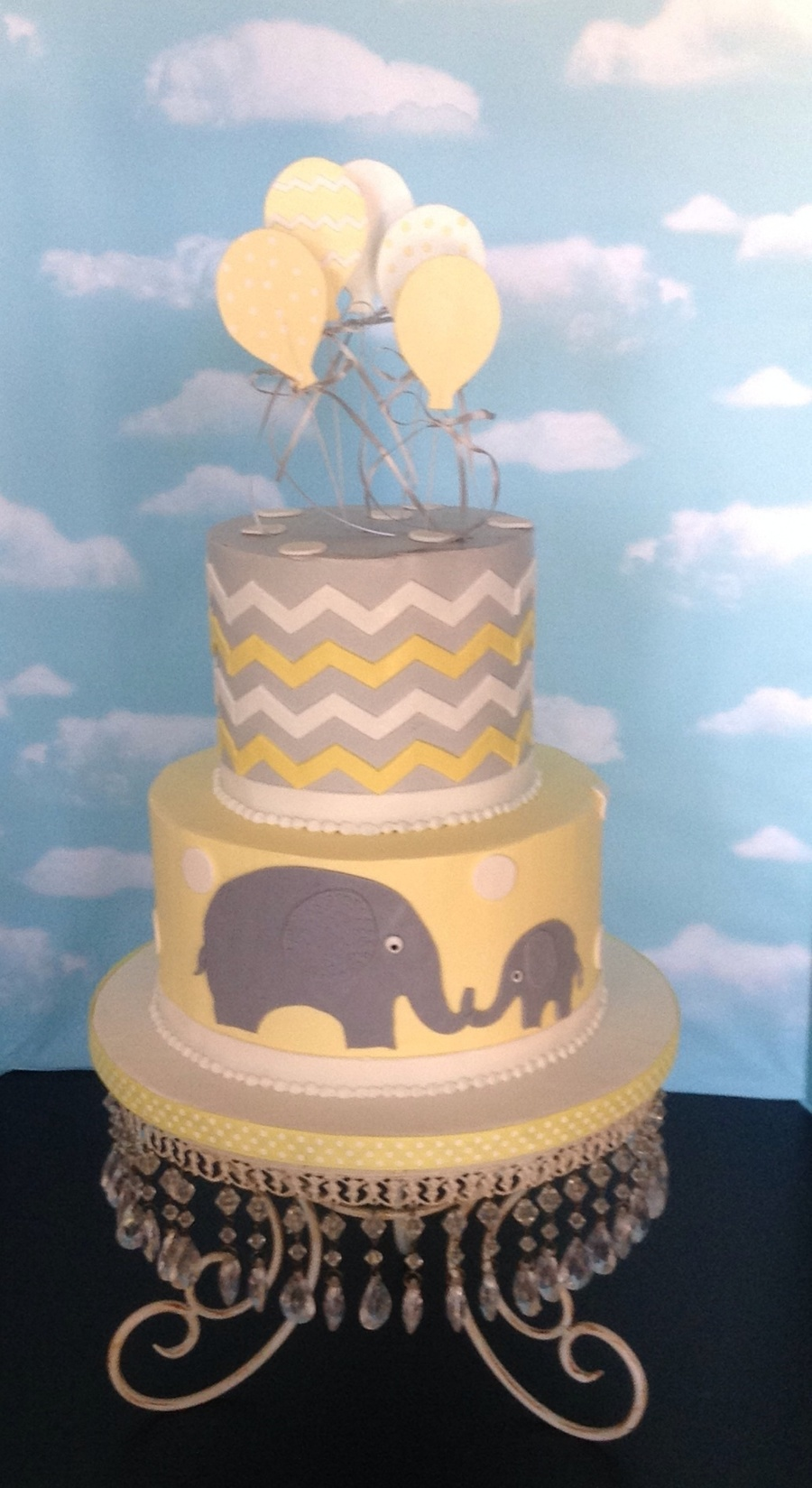 Yellow Grey Baby Shower Cake Cakecentral Com