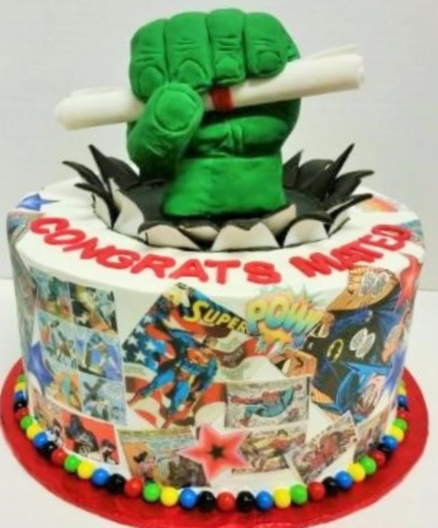 Comic Book Graduation Cake Cakecentral Com