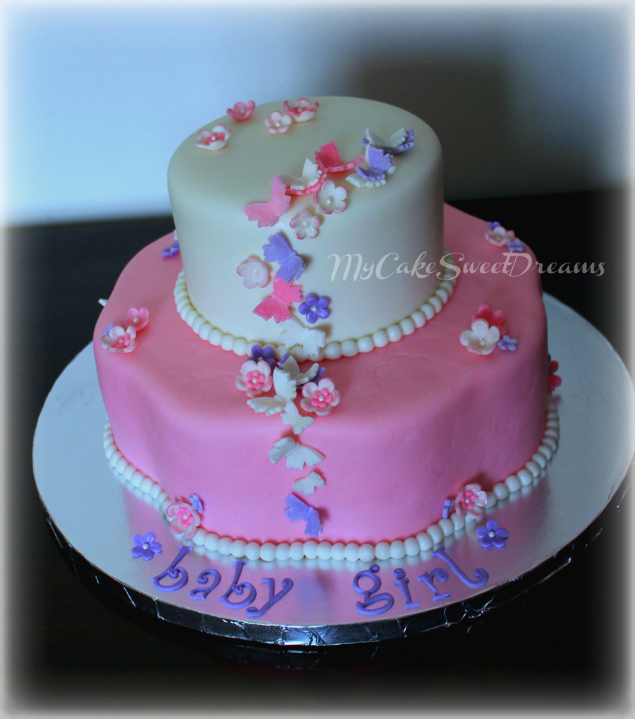 Flower Baby Shower Cake: Butterflies And Flowers Baby Shower Cake