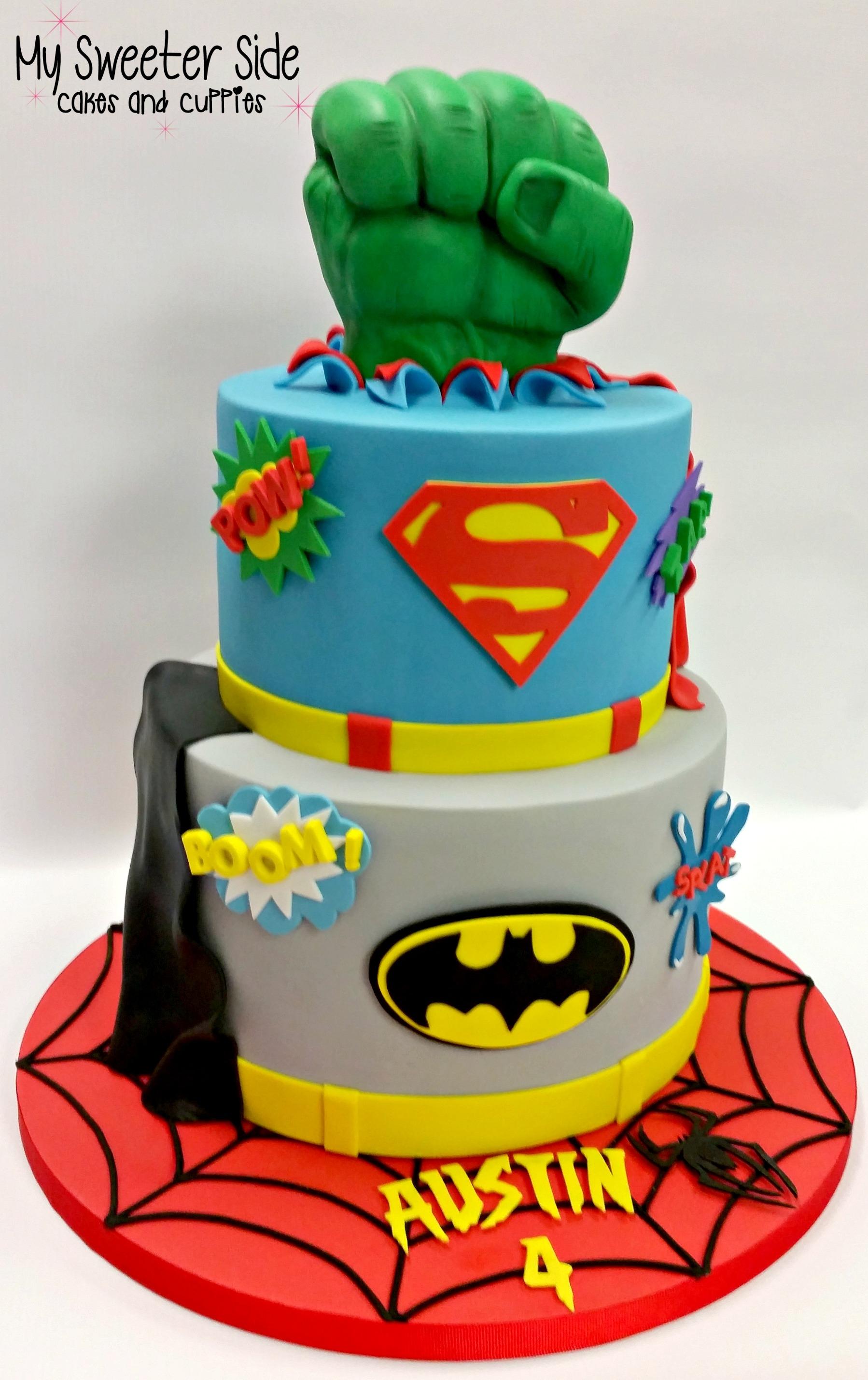 Easy super hero birthday cake with printable cake toppers ...  |Superhero Cakes