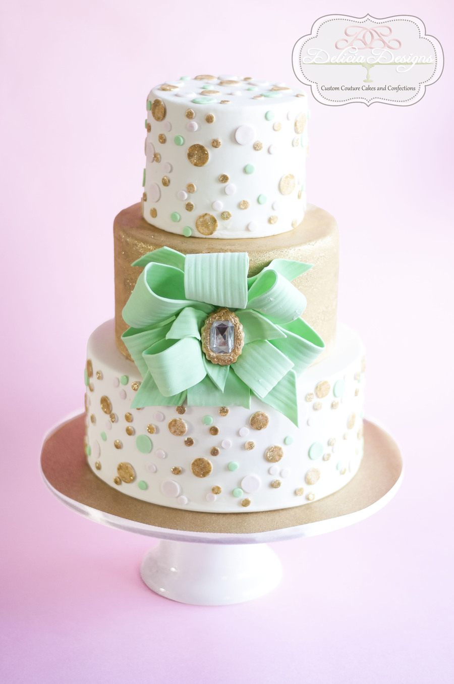 Gold White Pink Birthday Cake