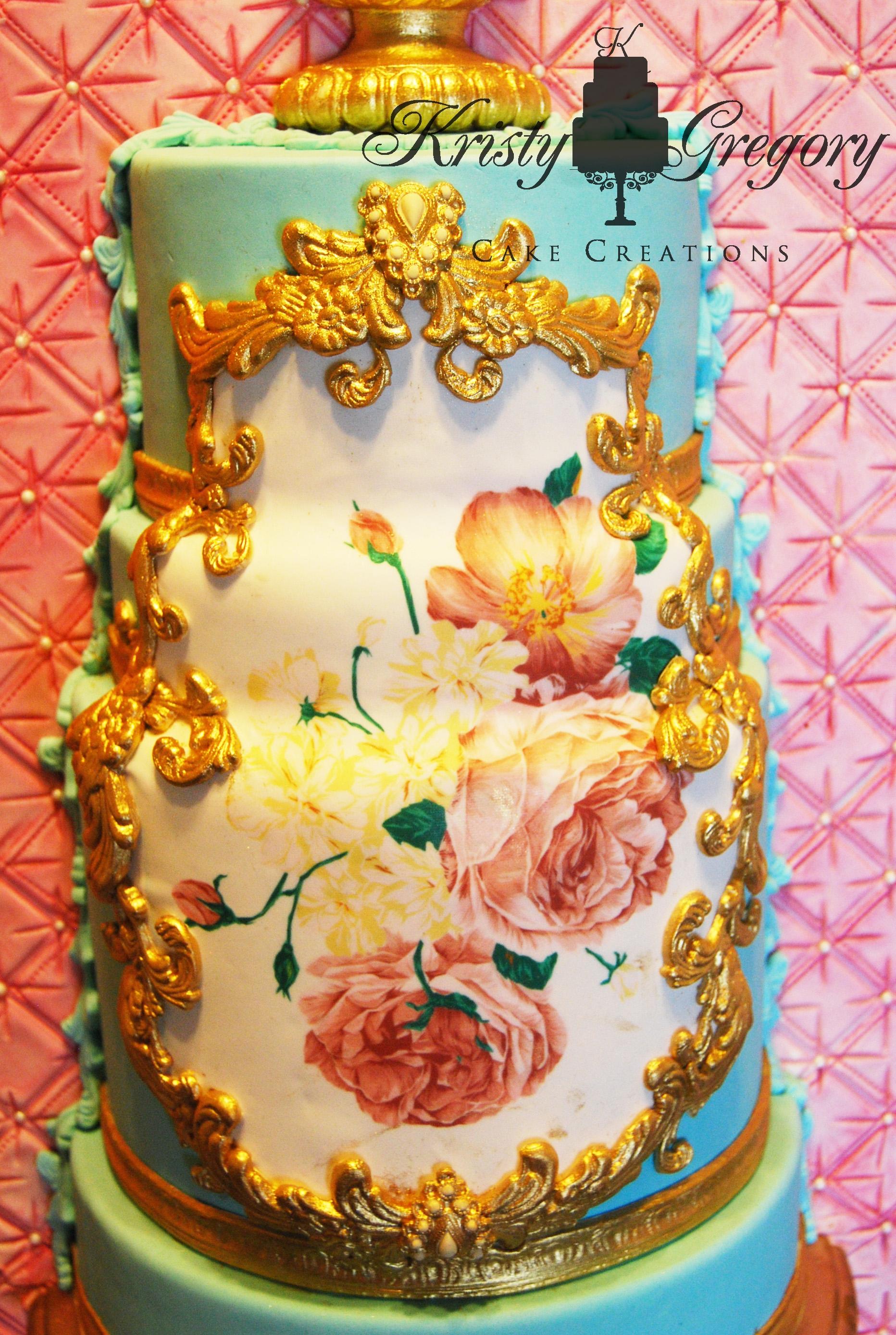Framed Rococo Wedding Cake - CakeCentral.com