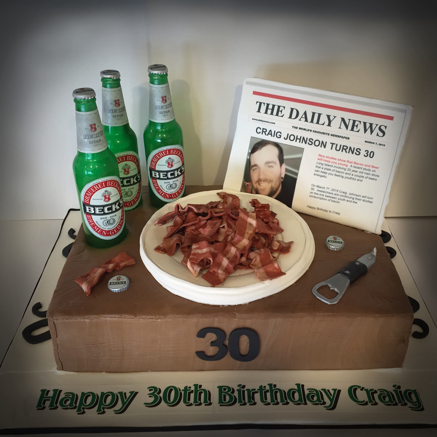 Fabulous Beer And Bacon Cake Cakecentral Com Funny Birthday Cards Online Aboleapandamsfinfo