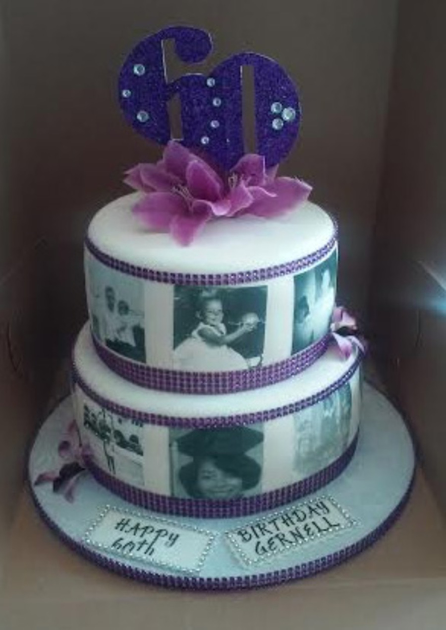 2 Tier 60th Bling With Photo S Birthday Cake Cakecentral Com