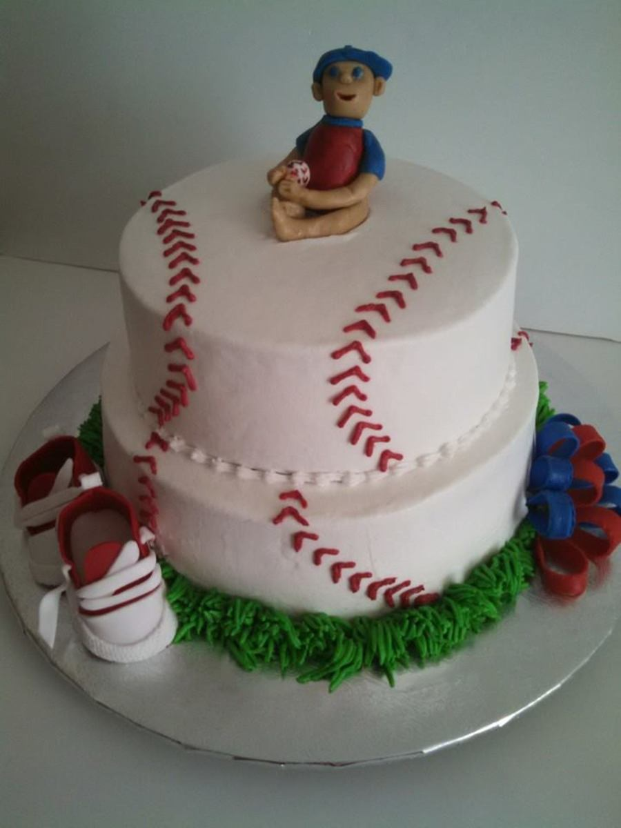 Baseball Baby Shower Cake With Baby Shoes Cakecentral