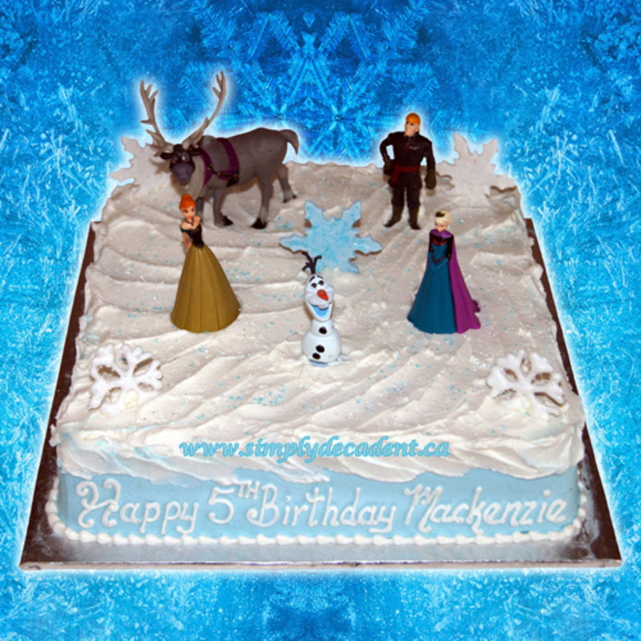 Disney Frozen Square Birthday Cake With Anna Elsa Kristoff Sven