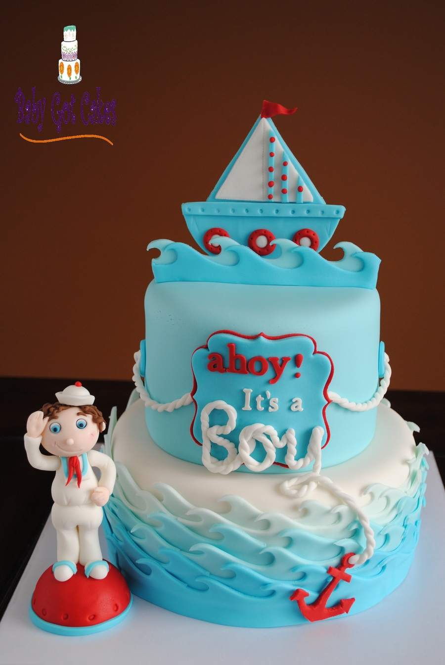 ahoy Its A Boy Nautical Baby Shower CakeCentralcom