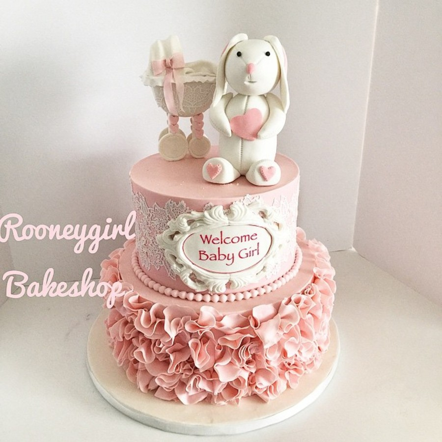 Bunny And Stroller Baby Shower Cakecentral Com
