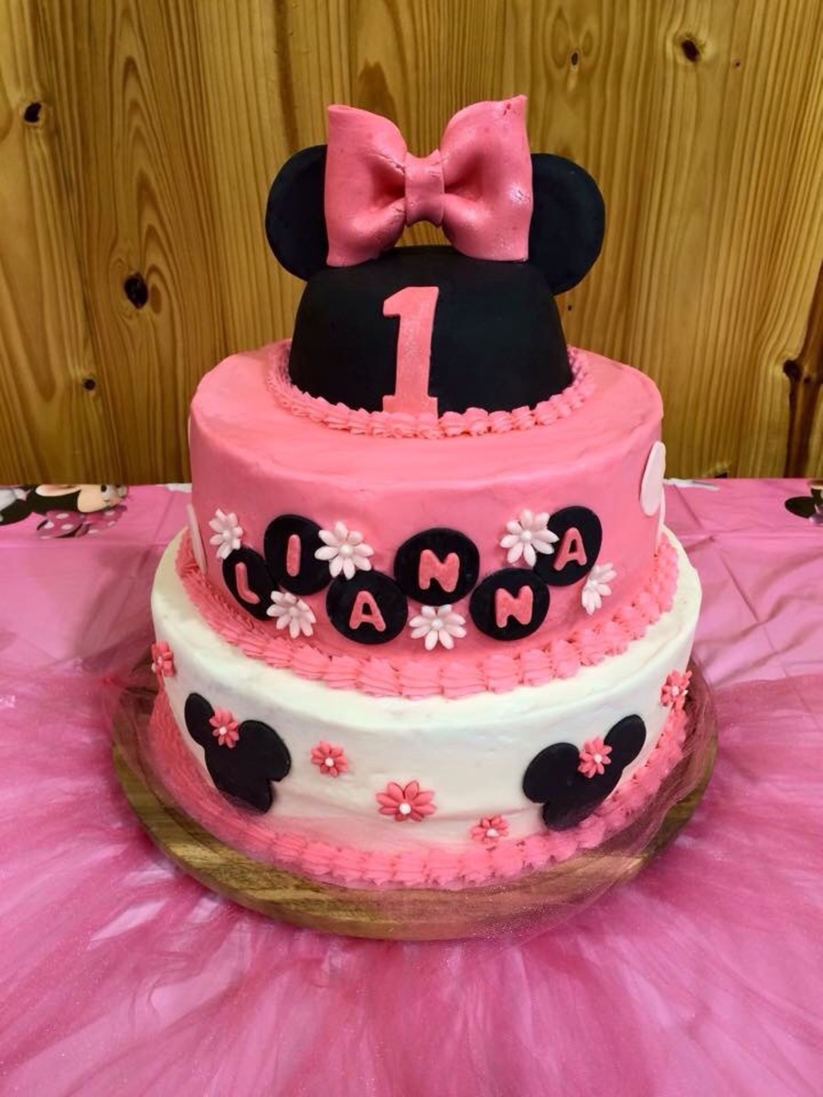 Awe Inspiring Minnie Mouse 1St Birthday Cakecentral Com Personalised Birthday Cards Veneteletsinfo