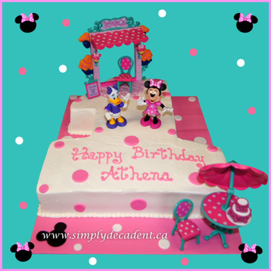 Awesome 1 Minnie Mouse Daisy Duck Tea Party Birthday Cake Cakecentral Com Personalised Birthday Cards Paralily Jamesorg