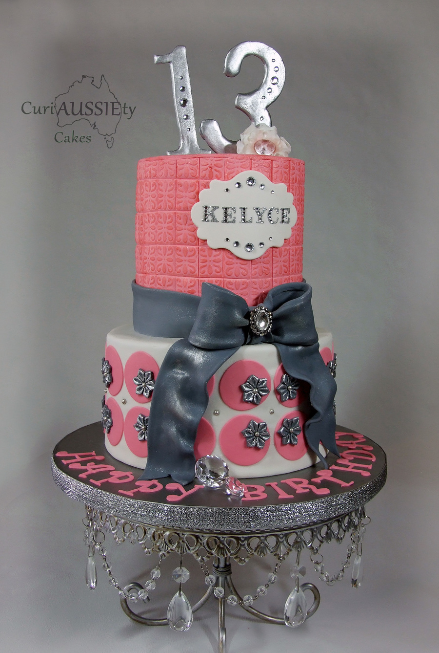 Pretty Pink And Silver Girls Birthday Cake Cakecentral Com