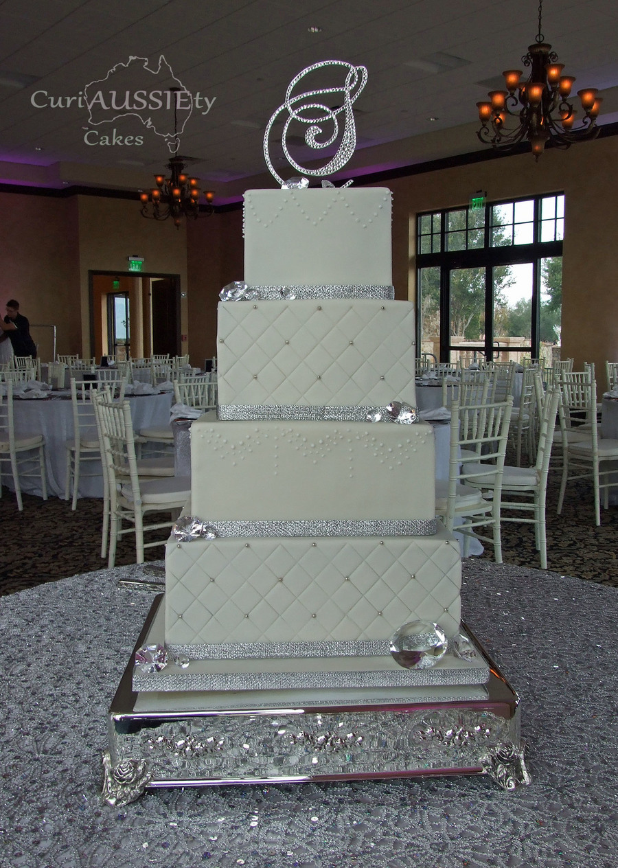 square 4 tier wedding cakes 4 square tiered bling wedding cake cakecentral 20343