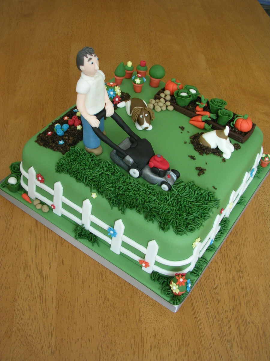 Man Mowing Lawn Garden Cake Cakecentral Com
