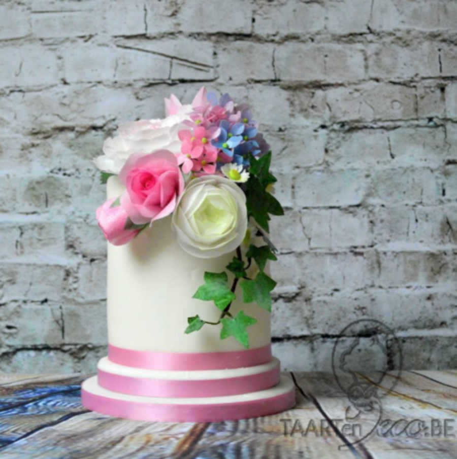 Cake With Wafer Paper Flowers on Cake Central