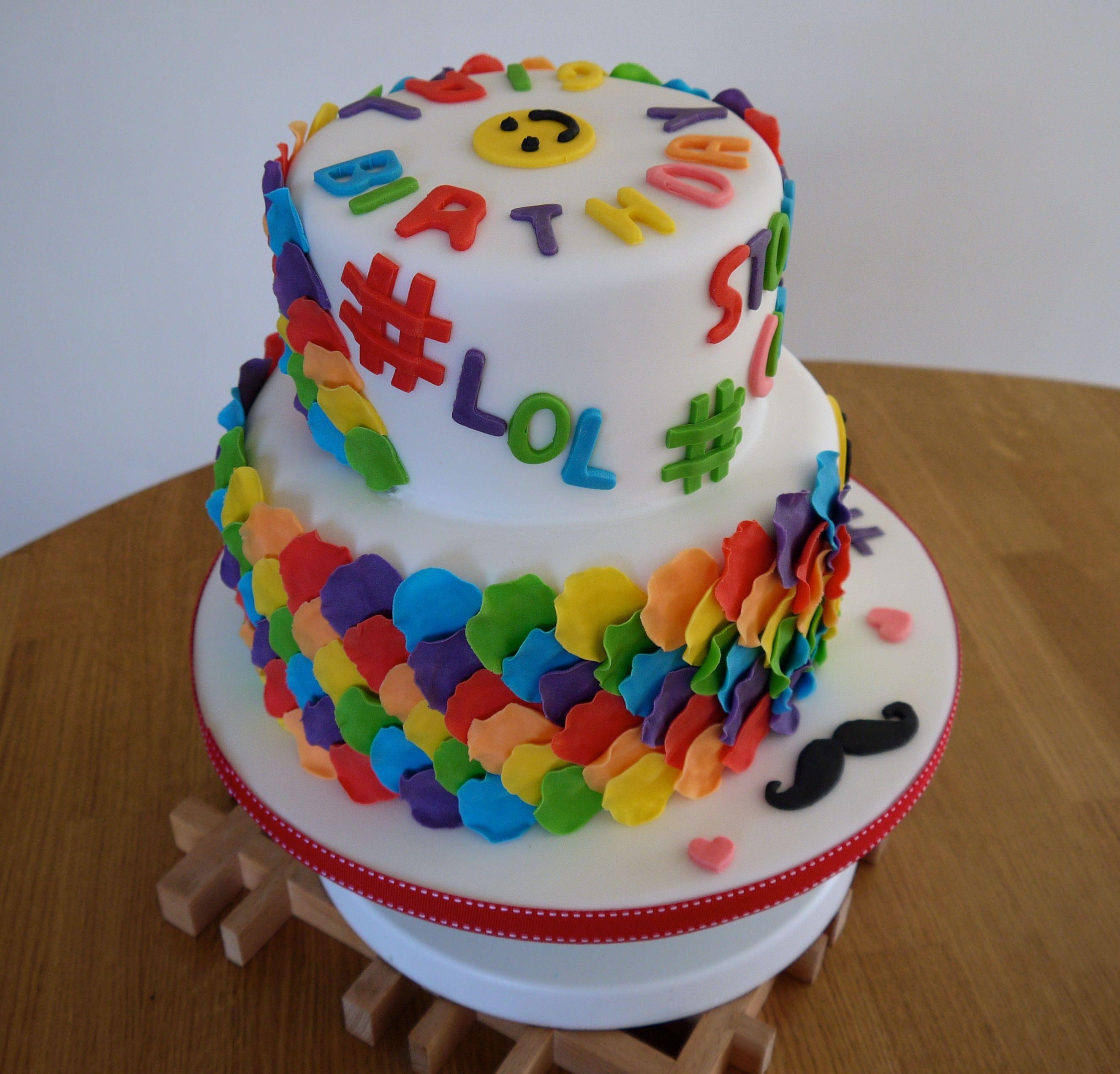 Hashtag/emoji Cake With Rainbow Petals - CakeCentral.com
