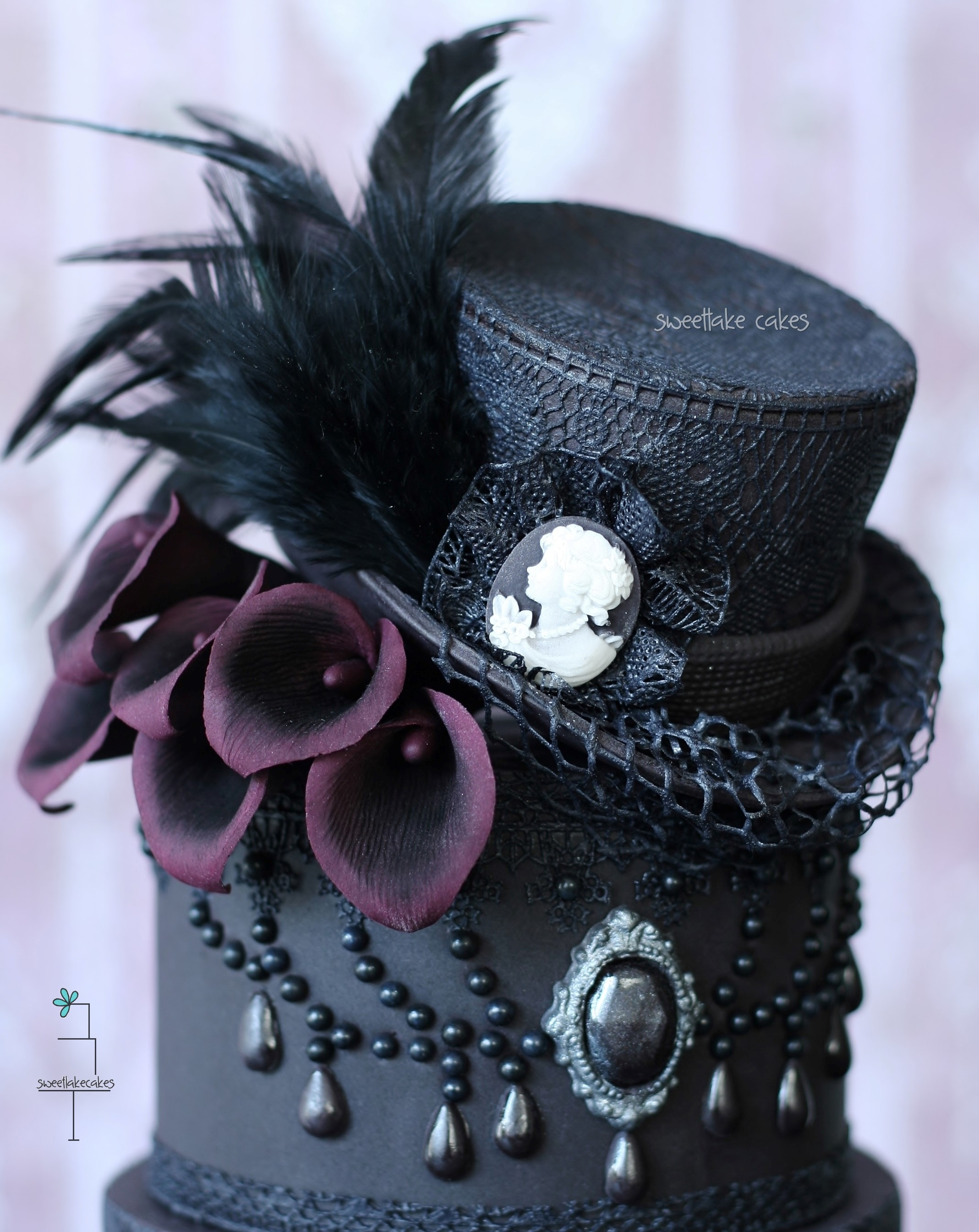 Gothic Wedding Cake With Top Hat Cakecentral Com