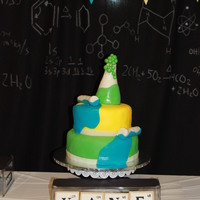 7Th Mad Science Cake I initially tried to do an elevated test tube pouring into the flask, but it was too heavy. We made a quick change to the bubbles, and the...