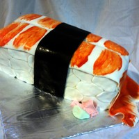 Sushi Cake I made this for my sisters birthday. The orange color is hand painted
