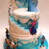 2 Tier Frozen Cake For 2 sisters celebrating a joint birthday. All the Frozen characters in a snowy setting with lots of sparkly snowflakes. Both tiers are...