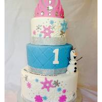 Pink & Blue Disney Frozen Cake Three Tier Disney Frozen Theme Birthday Cake