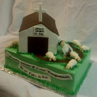 Church Cake Made for a church event. Everything is edible, all figures made from fondant.