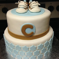 Converse Baby Shower Vanilla cake with chocolate chip cookie dough filling