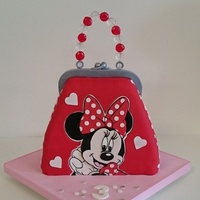 Minnie Mouse Purse Cake made for a little girl sharing a birthday with her twin brother!