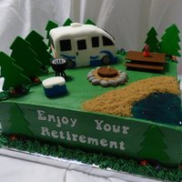 "Rv Retirement Cake  This is a 12"" Chocolate cake, frosted & filled with buttercream. The RV is cake, covered and decorated in fondant. The campfire is..."