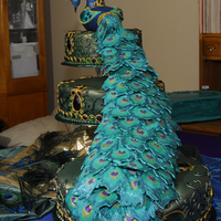 Peacock The party was for 400, the main cakes were the peacock...there were four kitchen cakes with peacock feathers.Unfortunately my client did...