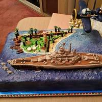 Battleship Wwii 60Th Birthday Cake   This was for a 60th Birthday Cake. His Hobbies are Battleships, Hellcat Fighter Planes and Midway Island.
