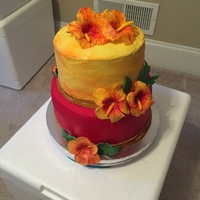 Hawaiian Theme Birthday   This was made to resemble a sunset in Hawaii
