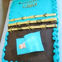Arrow Baby Shower Theme. Baby shower cake based on the nursery décor.