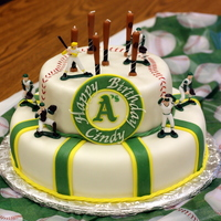 Baseball Cake Oakland A's  Made for a friend of mine as a surprise. All chocolate cake and fondant icing and decorations. She is an avid Oakland A's fan, and was...