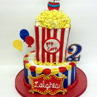 Circus Themed Birthday Fondant with fondant accents and Fondant popcorn