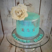 "Welcome Home 5"" cake with teal and silver color rose made with gumpaste"